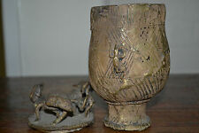 Mid 20th century African tribal Benin bronze ceremonial / medicine pot,c 1940