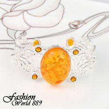 Marvelous Jewelry Citrine Oval Fire Amber Gemstone Silver Cuff Bracelet 2 5/8""