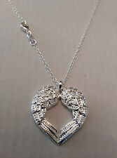 Lovely Angel Heart Wings Necklace in 925 Sterling Silver