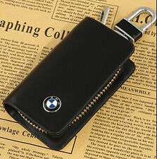 New Leather Car logo Key case Holder Housing Protector key chain for BMW Black