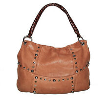 SOFIA C. ITALY BROWN SLOUCH LEATHER HOBO LARGE STUDDED SHOULDER BAG
