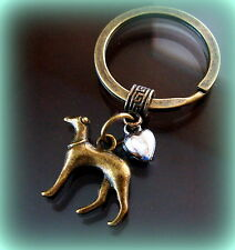 GREYHOUND Dog w/ Heart KEYCHAIN Jewelry - Art Nouveau Art Deco Antique Style