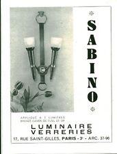 """Publicité Ancienne """" Luminaires SABINO  Advertising 1954 (P 33)"""