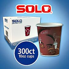 10 oz. Solo To Go Hot Drink Coffee Cafe Cups Paper Bistro Design Maroon - 300 ct