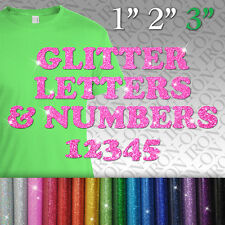 Glitter Letters & Numbers IRON-ON Tshirt FABRIC TRANSFER SEQUIN Custom Sticker