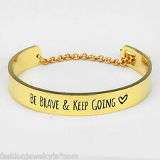 Be Brave and Keep Going Cuff Bracelet GOLD Arrow Clasp Inspirational Message