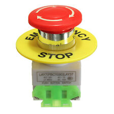 660V 10A Self Locking Red Mushroom Emergency Stop Push Button Switch NO/NC Cap