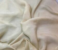 "Sheer Soft Silk ORGANZA Fabric Hand Dyed ECRU 54"" Wide -By The Yard-"