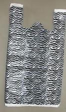 "50 Zebra Print Design Plastic T-Shirt Retail Shopping Bags w/ Handles 11.5x6x21"""