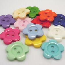 Praktisch Kinder Knöpfe 100pcs/Packung 14 mm hübsch Blume Form Harz Nähen Knöpfe