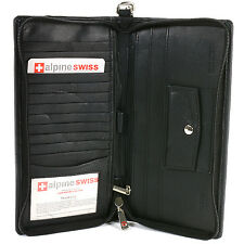 Alpine Swiss Passport Case Leather Organizer Zippered Travel Checkbook Wallet