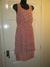 QED LONDON PINK / WHITE CIRCLED PART PLEATED DRESS - UK Size 12