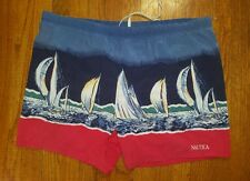 Nautica Swim Trunks Sailboats LARGE red blue lined 100% nylon VTG 90s sailing