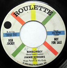 JIMMIE RODGERS 45 Bimbombey ROULETTE 1958 Rockabilly PROMO VG+  w218