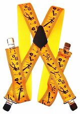 "2"" Yellow Tape Measure Supsenders. Made in USA : Elastic, 48"",SF"