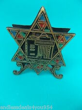 NAPKIN HOLDER-ISRAEL 1950's-BRONZE ENAMEL SCULPTED -JERUSALEM -STAR OF DAVID