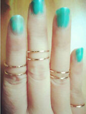 5PCS SET Rings Urban Gold Silver stack Plain Above Knuckle Band Midi Ring TOp L7