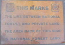 Old Original Metal Sign National Forest and Private Land 1930's Very Rare