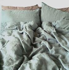"""LINO biancheria da letto-set: 220x240, 2 ST 80x80, 100% LINO Stonewashed, """"Sky"""" BLU"""