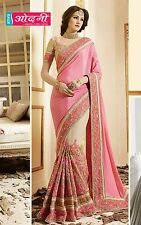 Indian Bollywood Exclusive Peach Beige Chiffon Net Party Wear Wedding Saree Sari