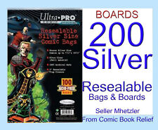 200 SILVER ULTRA PRO - RESEALABLE - BAGS AND BOARDS FOR COMIC BOOKS