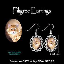 TABBY ORANGE Longhair Persian Maine Coon Smiley Cat - SILVER FILIGREE EARRINGS