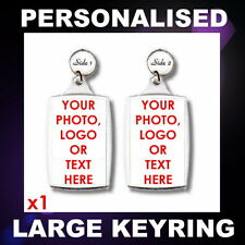 PERSONALISED CUSTOM PHOTO LARGE KEYRING PROMOTIONAL BUSINESS LOGO GIFT