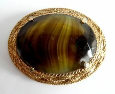 Vintage Retro Italian Moss Green Murano Gold Tone Large Brooch