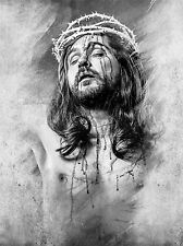 ART PRINT POSTER PAINTING DRAWING JESUS CROWN THORNS GRAPHIC LFMP1066