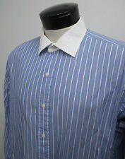 Polo Ralph Lauren  french cuff blue white collar dress shirt 17-36 mens ^ 1198