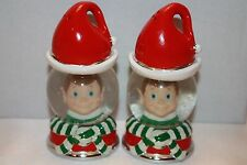 NEW! NIB! Neiman Marcus Snow Globe Elf 2 Piece Salt & Pepper Set Boxed