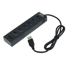 New 6 Port USB 2.0 Hub + 2 Card Reader Combo With Switch For Computer PC Laptop