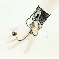 1x  Gothic Lolita Lace Adjustable Beads Hand Harness Punk Chain Bracelet Ring EW