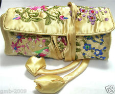 SILK EMBROIDERED JEWELRY TRAVEL BAG Roll Case Carrying Brocade Zipper Beige New