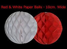 2 pacco di Natale in rosso e bianco da appendere PALLA di Carta Decorazione Party Festa 10cm
