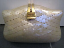 Made in ITALY Vintage Hard Shell Clutch Shoulder Bag Purse w/Gold Metal Chain
