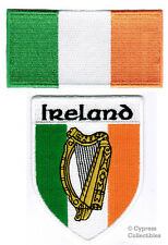 IRELAND FLAG SHIELD BIKER PATCH IRISH EMBROIDERED IRON-ON EIRE EMBLEM HARP new