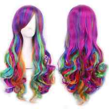 UK Rainbow Lolita Multi Color Wig Long Big Wavy Curly Spiral Hair Cosplay Wigs