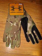 NWT MENS UNDER ARMOUR MULTICAM CAMOUFLAGE CAMO LINER GRIP GLOVES COLD GEAR LARGE