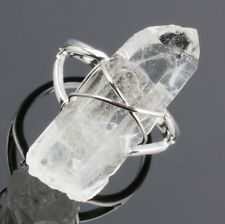 Wire Wrap Rock Quartz Crystal Gemstone Stone Bead Adjustable Finger Ring Jewelry