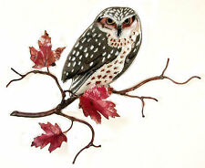 Owl on Maple Leaf Branch Metal Bird Wall Art Sculpture by Bovano #W8093