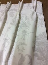 Laura Ashley Josette 3621259 White & Grey Double Pleat Curtains,Made To Measure