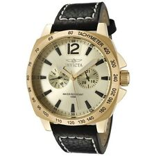 NEW INVICTA SPECIALTY GOLD TONE,BLACK LEATHER BAND,JAPAN MADE WATCH 0856-MSR$395