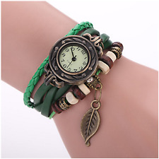 Fashion Bohemian Watch for Ladies w/ Leaf Pendant (Green Leather Weave Bracelet)