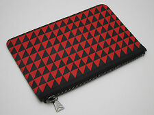 PROENZA SCHOULER - Triangle Print Leather Small Pouch/Clutch Black/Red NEW
