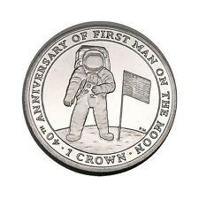 elf IOM Isle of Man 1 Crown 2009  Astronaut Flag   Moon Landing 40th Proof