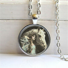 Vintage Horse Cabochon Silver plated Glass Chain Pendant Necklace #D128