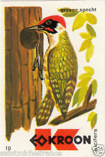 Pic vert Picus viridis European Green Woodpecker MATCHBOX LABEL CARD IMAGE 1973
