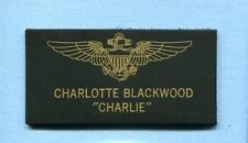 CHARLOTTE CHARLIE BLACKWOOD TOP GUN MOVIE COSTUME NAVY SQUADRON NAME TAG PATCH