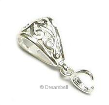 Bright  Sterling SILVER Filigree Flower Slide Bail CLASP Pendant Connector S